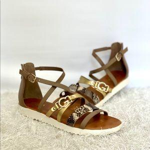 Guess Womens Karin Snakeskin Gladiator Sandals